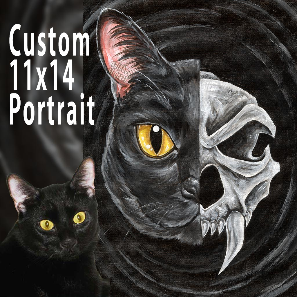 Custom Pet Skull Portrait - 11x14 Canvas