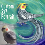 A custom pet painting, on 5x7 inch canvas, with art of a grey and yellow cockatiel.
