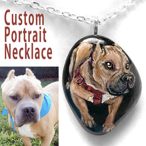 a small rock art of a brown pit bull portrait painting, custom made into a pendant necklace