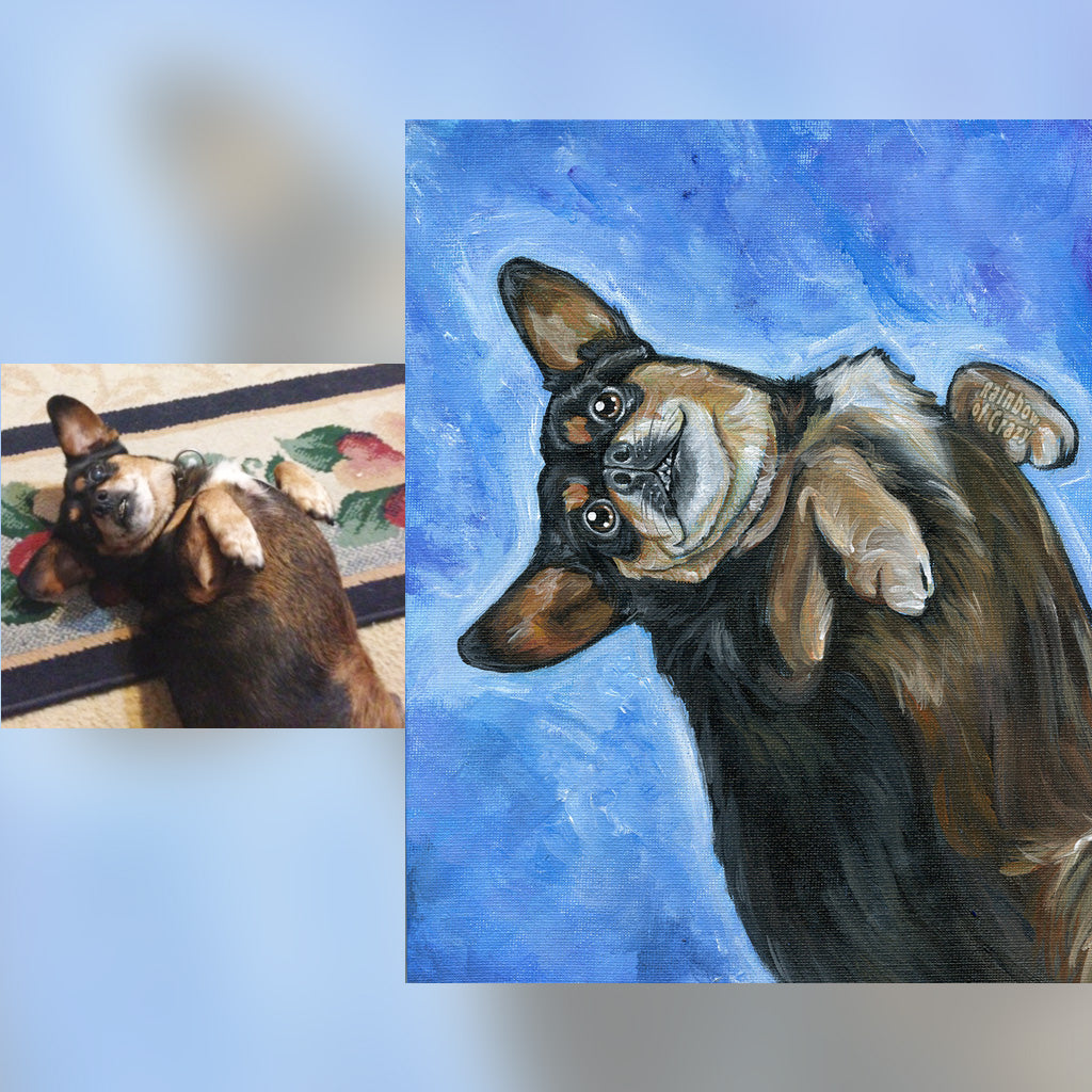 A pet portrait painting of a black and brown chihuahua lying on its back, in front of a light blue background.