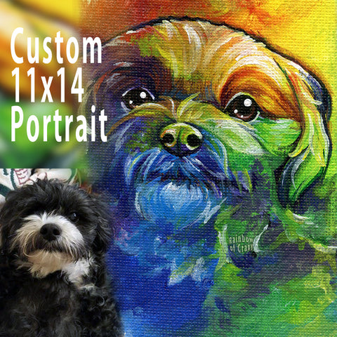 a custom pet portrait on 11x14 inch canvas, of a black and white dog painted with rainbow colours