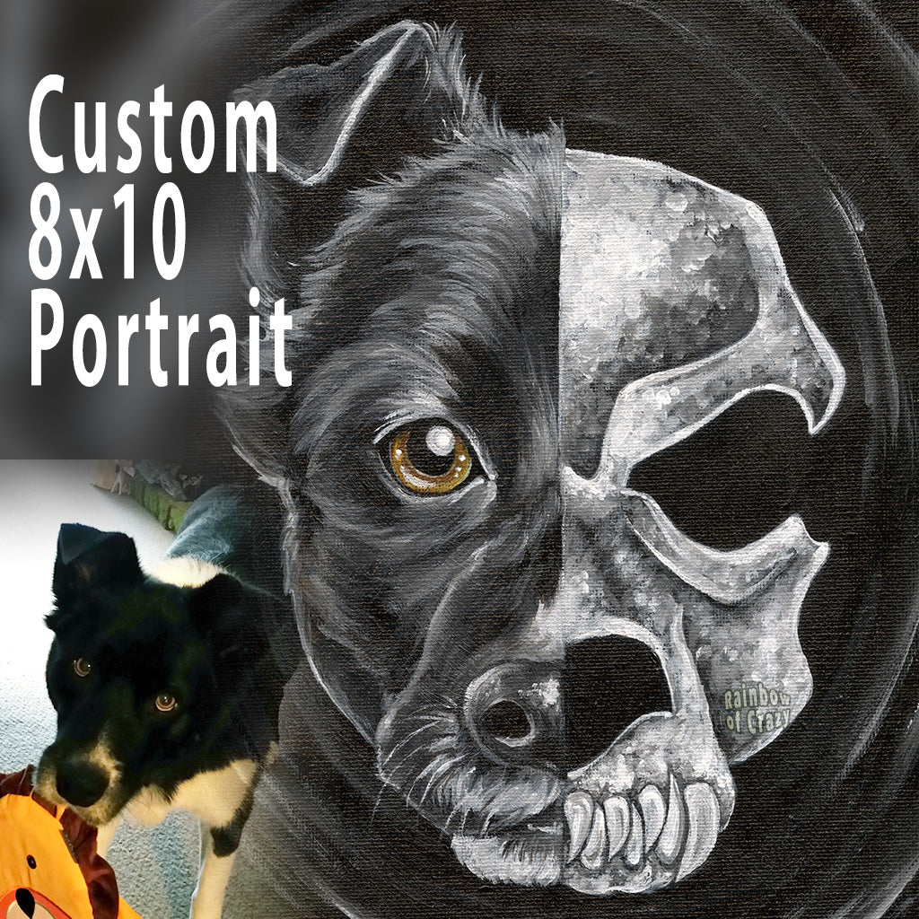 "A personalized 8x10"" stretched canvas painting, with a portrait divided in two: the left side is a black dog, and the right side is an evil looking dog skull"