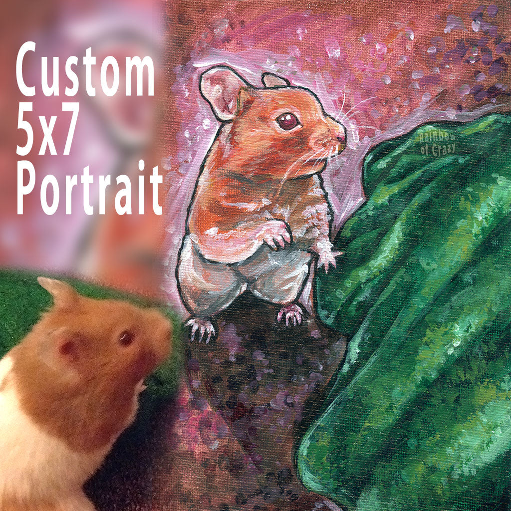 A custom pet portrait, on 5x7 inch canvas, with art of a brown and white hamster.