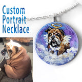 A circle wood pendant necklace, hand painted with a custom pet portrait of an English bulldog as an angel.