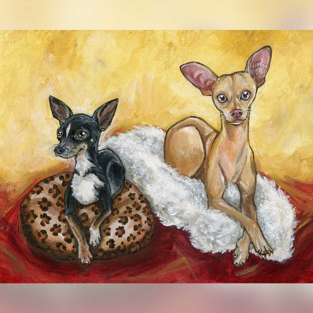 A personalized pet painting of a black chihuahua on a leopard print pillow, and a light brown chihuahua on a white fur rug, set on a red floor with yellow walls.