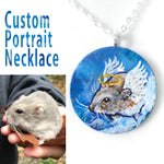 A circle wood pendant necklace, hand painted with a custom pet portrait of an brown and white hamster as an angel.