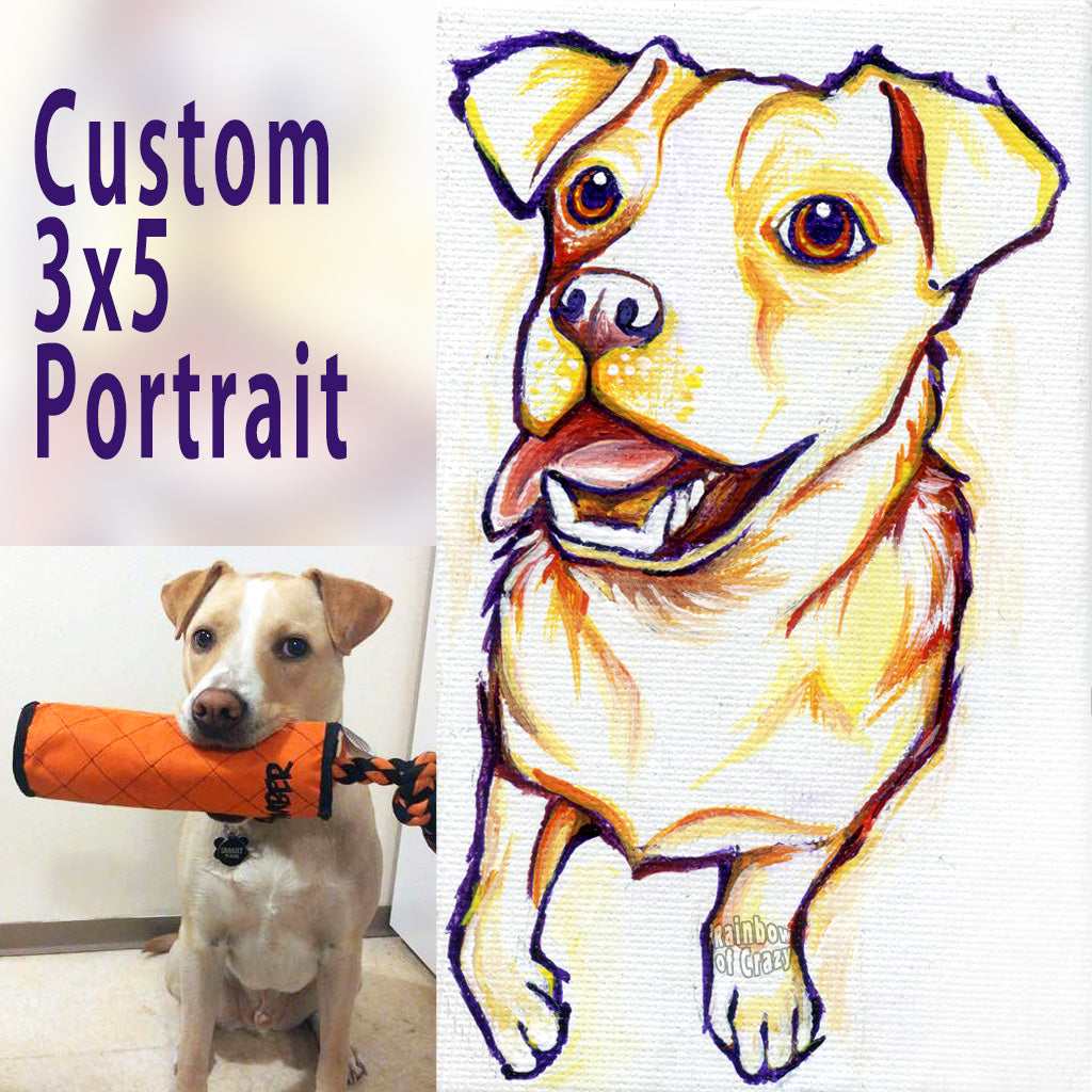 "A 3x5"" custom pet portrait of a brown and white dog, painted in red, yellow, and orange, on canvas"
