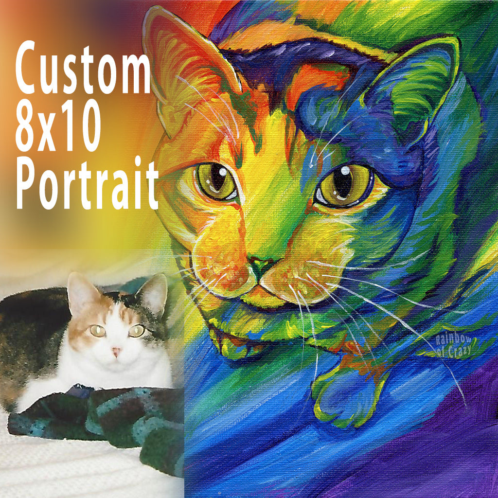 Custom Pet Rainbow Portrait - 8x10 Canvas