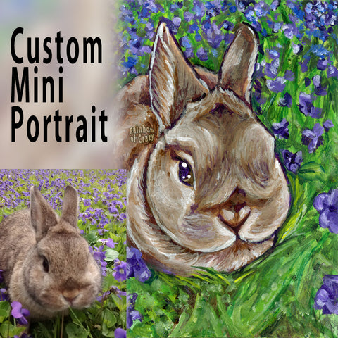 "A custom portrait painting is ACEO sized (2.5"" by 3.5"") featuring a brown bunny rabbit sitting in a field of purple flowers."