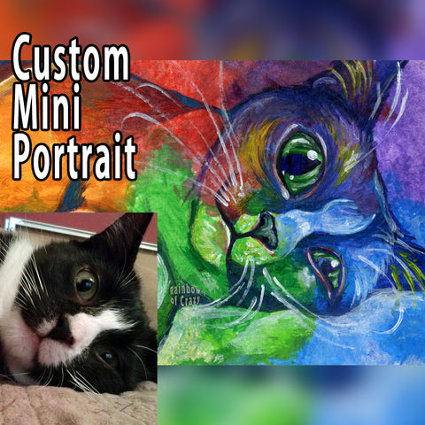 a custom small ACEO pet painting, of a portrait of a black and white cat, painted with rainbow colours.