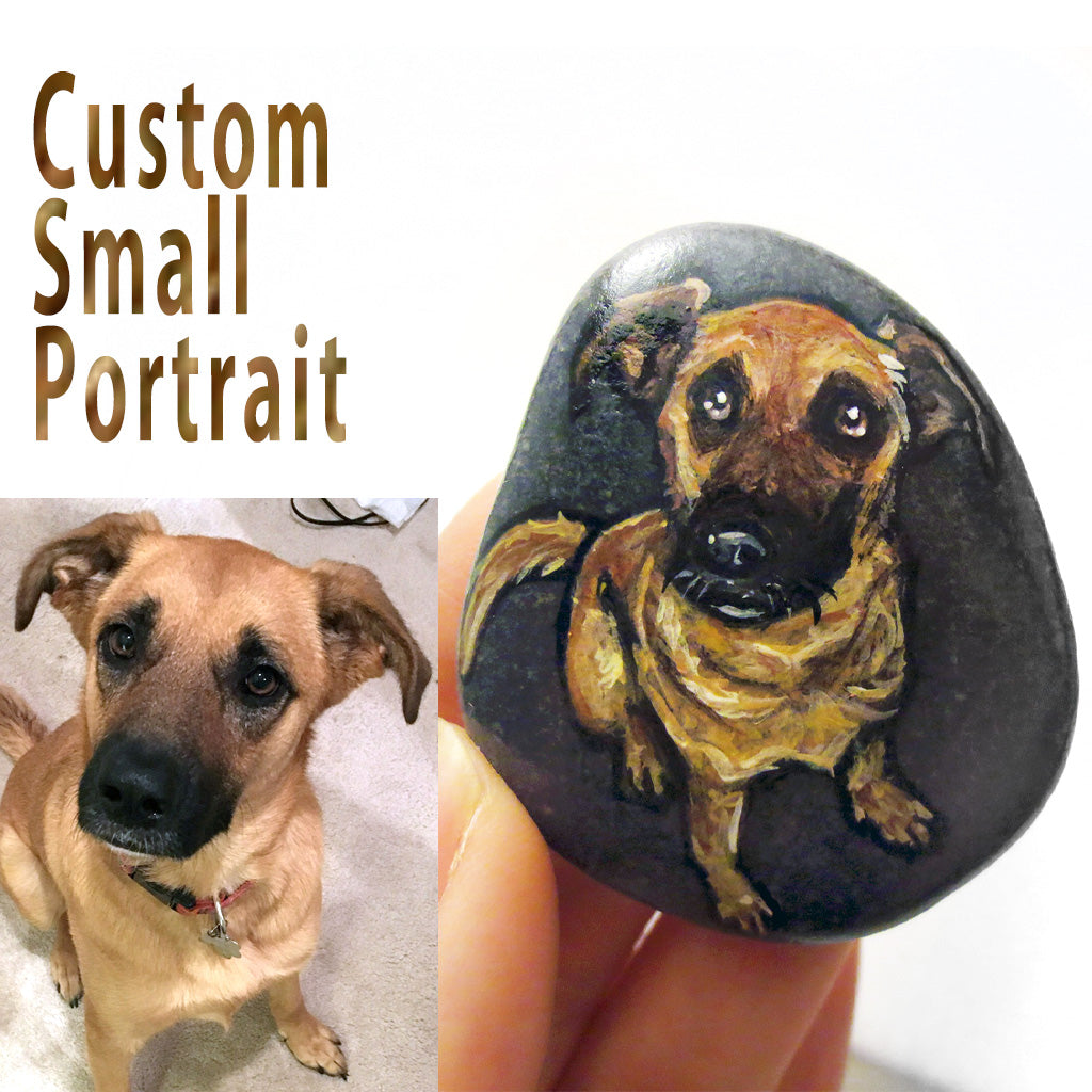 rock art with a custom pet portrait of a brown and black dog