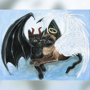 A custom pet portrait of a black cat painted with red horns and bat wings, and a brown and black cat with a halo and angel wings, in front of a light blue background.