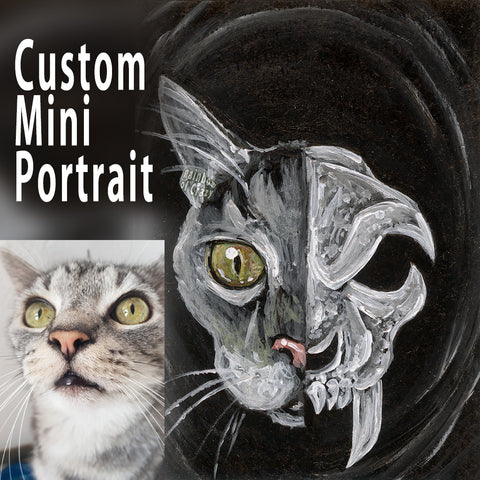 A custom, small ACEO pet painting of a grey tabby cat on one side, and a stylized cat skull on the other side.
