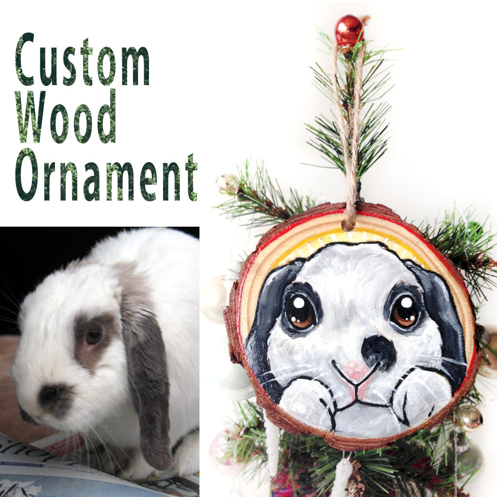 Custom Pet Portrait Wood Ornament