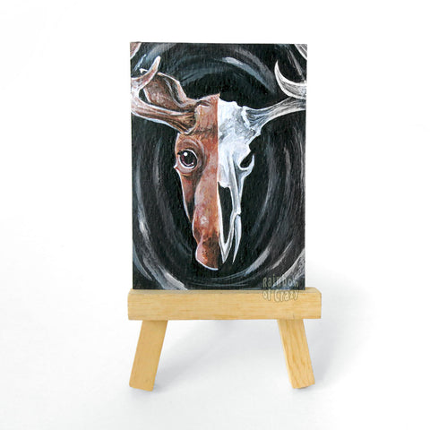 Moose Skull ACEO Painting