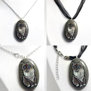 A collage, showing a cat portrait pendant, with the left side showing the necklace on a chain, and on the right side, the pendant hanging from a black cord ribbon necklace.