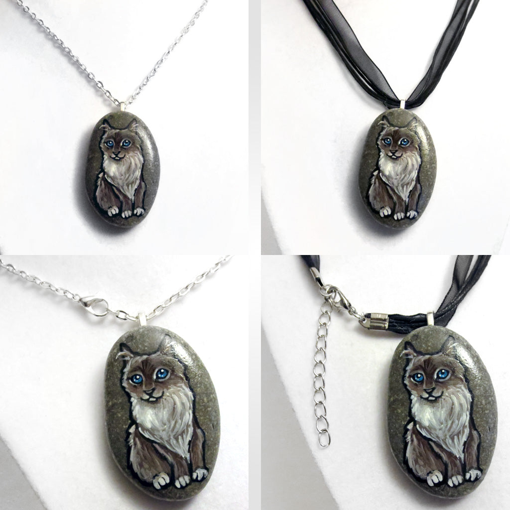 Custom Pet Portrait Necklace (Stone)