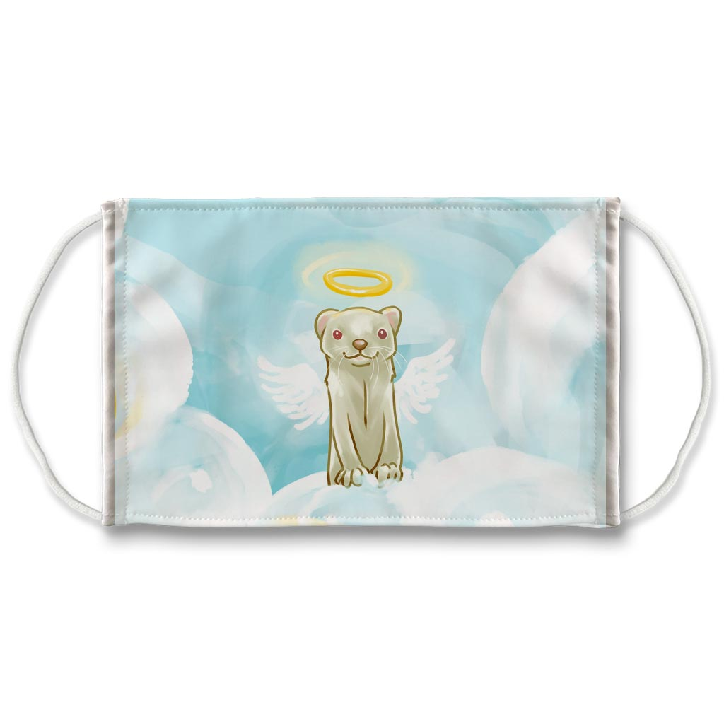 A white reusable face mask, featuring art of an albino ferret with angel wings and halo, on top of the clouds