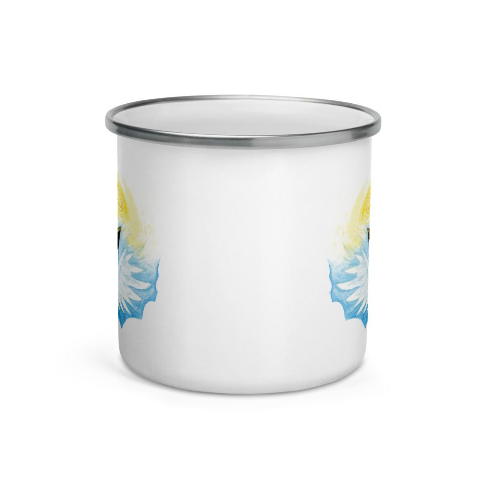 The side of a white enamel mug with a cat's angel wings.