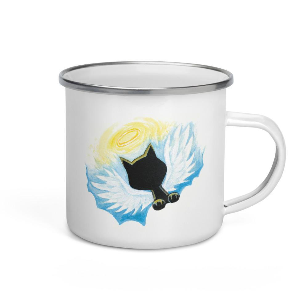 A white enamel mug with art of a black cat angel on the front
