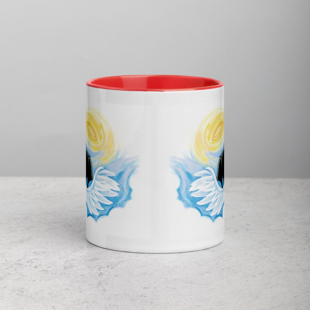 An 11 oz ceramic coffee mug, with red trim, is printed with art of a black dog as an angel with wings and halo, peeking out from the clouds An 11 oz ceramic coffee mug, with red trim, is printed with artwork of a black dog as an angel with wings and halo, peeking out from the clouds