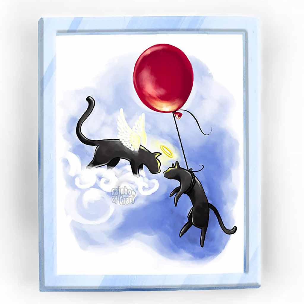 An art print featuring an angel black cat greeting another black cat that is floating up thanks to a red ballloon.