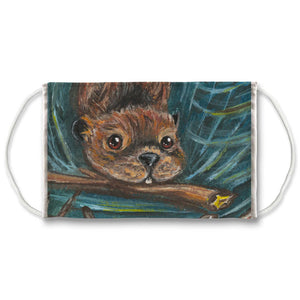 A reusable face mask features art of a swimming beaver, carrying a branch in its mouth