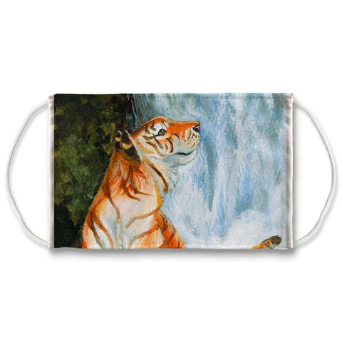 A white reuseable face mask is printed with an illustration of a tiger in front of a waterfall. Artwork is from The Empress card from the Animisim Tarot