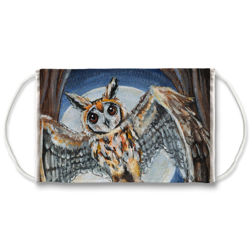 A reusable face mask featuring art of an owl flying in front of a full moon. Art is from the High Priestess card in the Animism Tarot