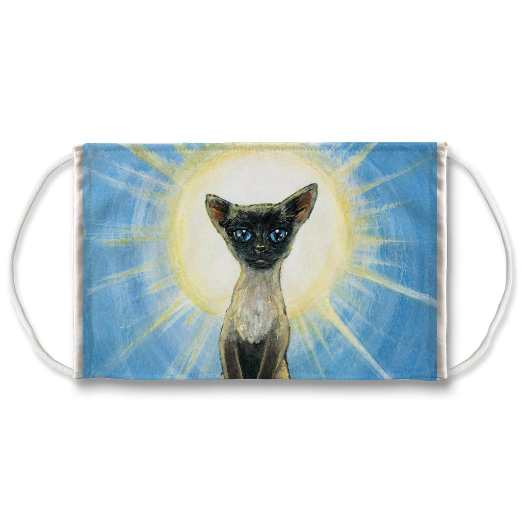 A white reusable face mask, printed with a painting of a Siamese cat standing in front of the sun. Art is from the Judgment card from the Animism Tarot
