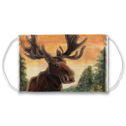 A white reusable face mask features art of a moose in a forest, in front of an orange sky.