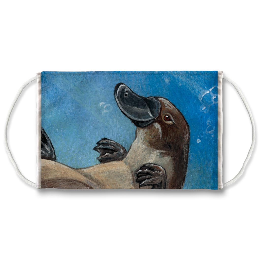 A reusable face mask featuring a platypus swimming underwater. Art is from the Page of Cups from the Animism Tarot