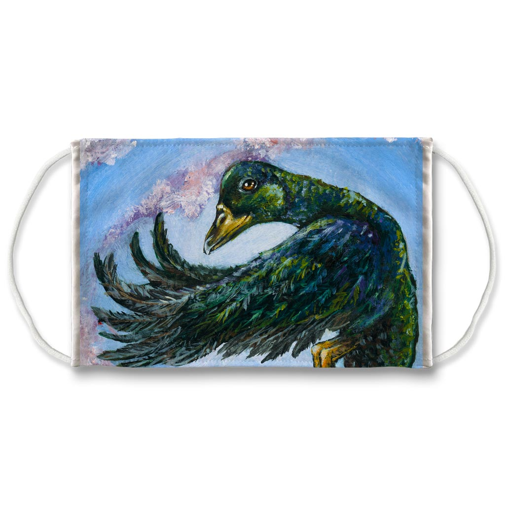 A reusable face mask featuring art of a cayuga duck flying. Art is from the Animism Tarot