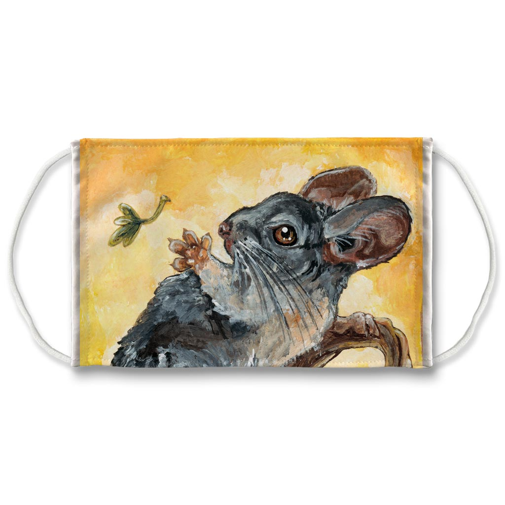 A reusable face mask featuring art of a chinchilla reaching up to a leaf