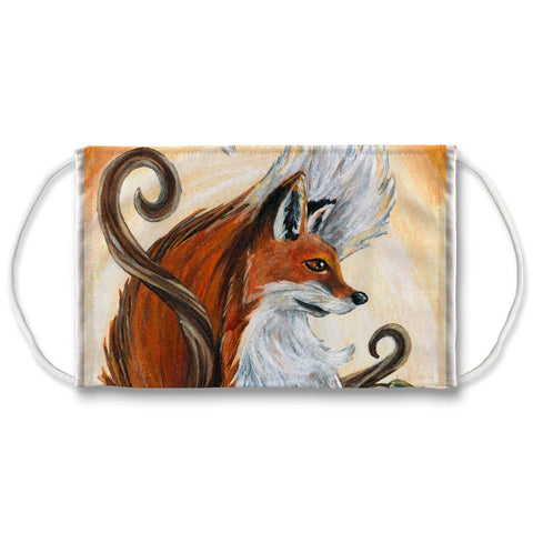 A reuseable face mask printed with art of a red fox, from the Queen of Wands card from the Animism Tarot