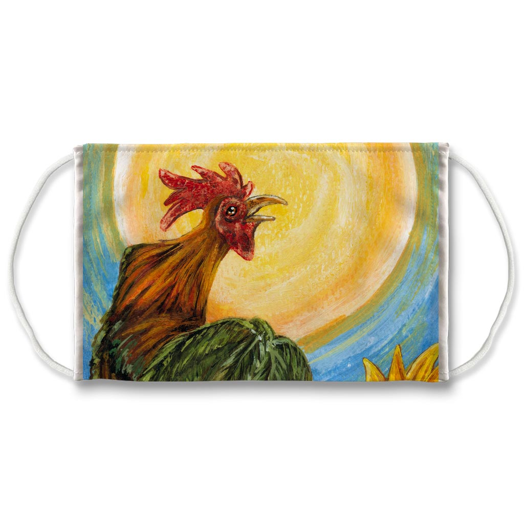 A reusable face mask printed with a rooster crowing in front of the sun. Art is from the Sun card from the Animism Tarot