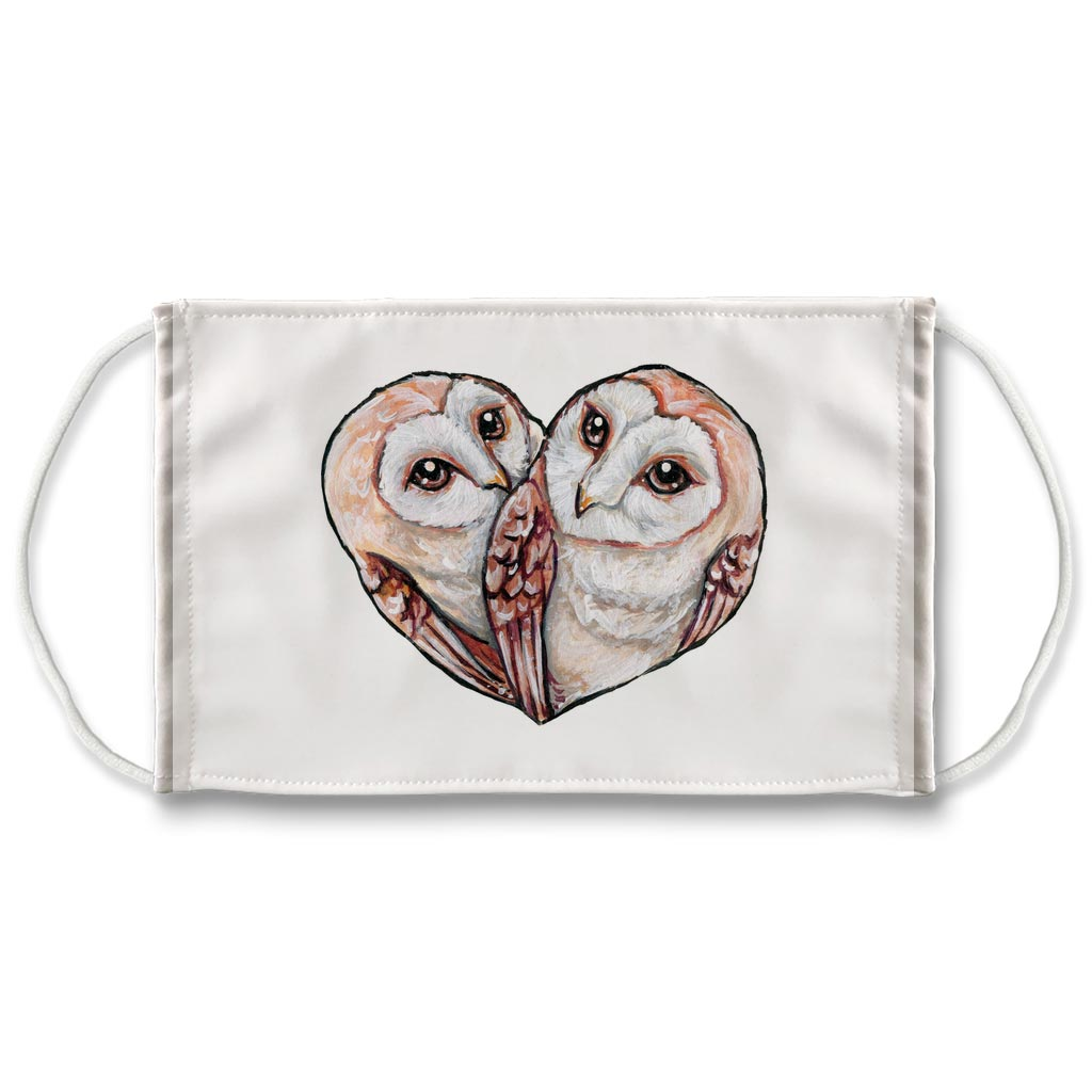 Barn Owl Love / Face Mask / White