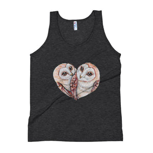 Barn owl lovers unisex tank top in black, includes two barn owls forming the shape of a heart.