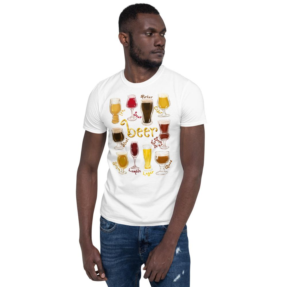 A man wearing the Beer Lovers Basic Unisex T-shirt in white, includes an illustration of 10 different types of beers.