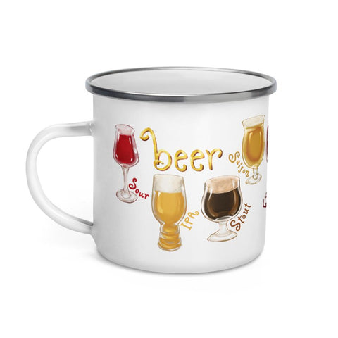 The beer lovers 11 oz enamel mug, printed with an illustration of 10 different styles of beers, including sour, IPA amd stout.