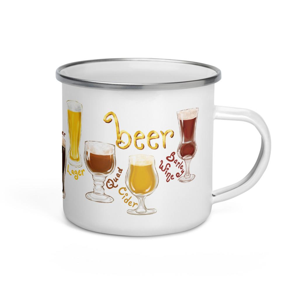 The beer lovers 11 oz enamel mug, printed with an illustration of 10 different styles of beers, including quad, cider and barley wine.
