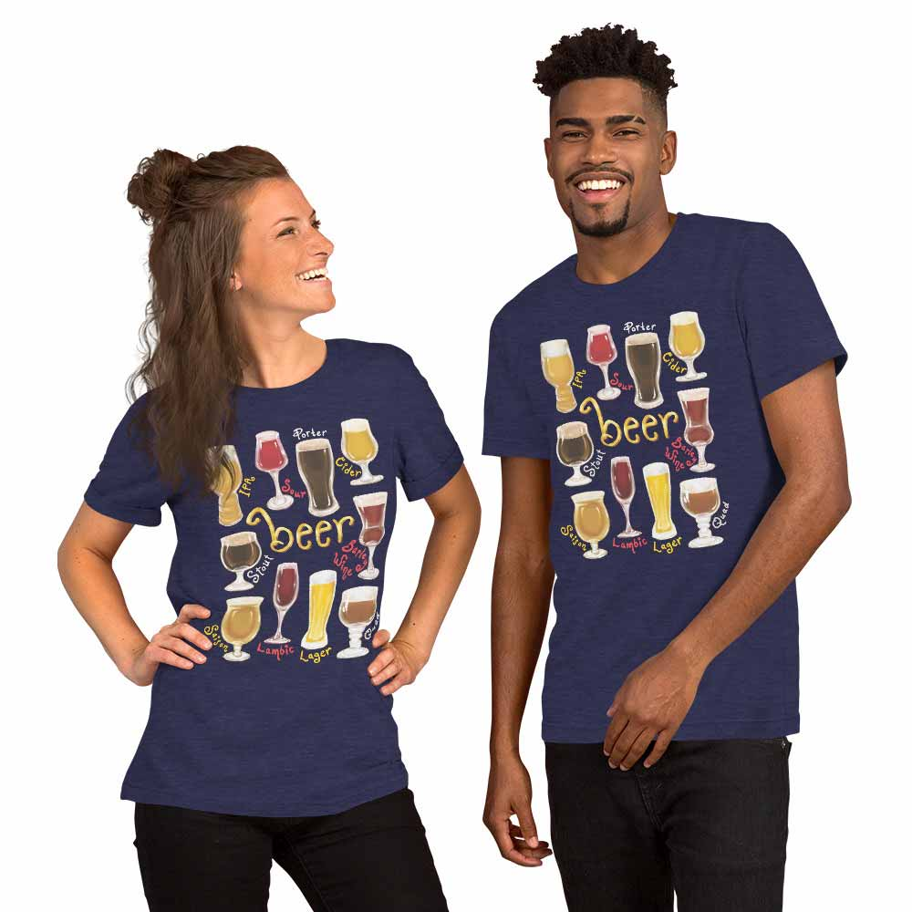 A woman and man wearing the Beer Lovers Premium T-shirt in the colour heather midnight navy blue, which is printed with an illustration of 10 different styles of beers.