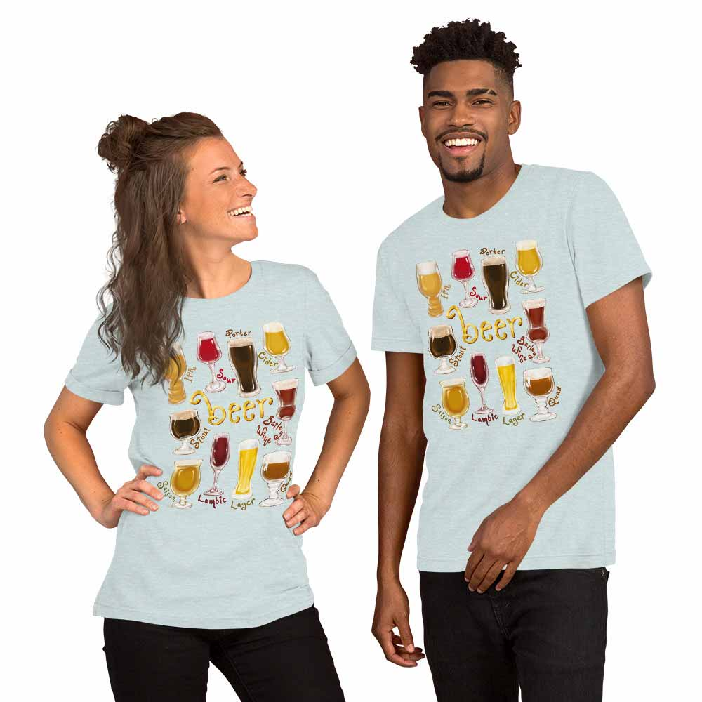 A woman and man wearing the Beer Lovers Premium T-shirt in the colour heather prism ice blue, which is printed with an illustration of 10 different styles of beers.