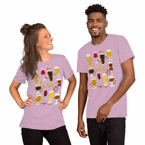 A woman and man wearing the Beer Lovers Premium T-shirt in the colour heather prism lilac purple, which is printed with an illustration of 10 different styles of beers.
