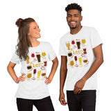 A woman and man wearing the Beer Lovers Premium T-shirt in white, which includes an illustration of 10 different styles of beers.