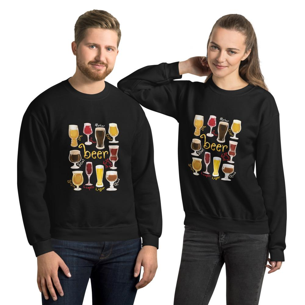 A man and woman wearing the Beer Lovers Unisex Sweatshirt in the colour black, featuring a print of 10 styles of beer in 10 different glasses