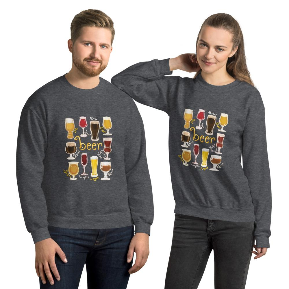 A man and woman wearing the Beer Lovers Unisex Sweatshirt in the colour dark heather grey, featuring a print of 10 styles of beer in 10 different glasses