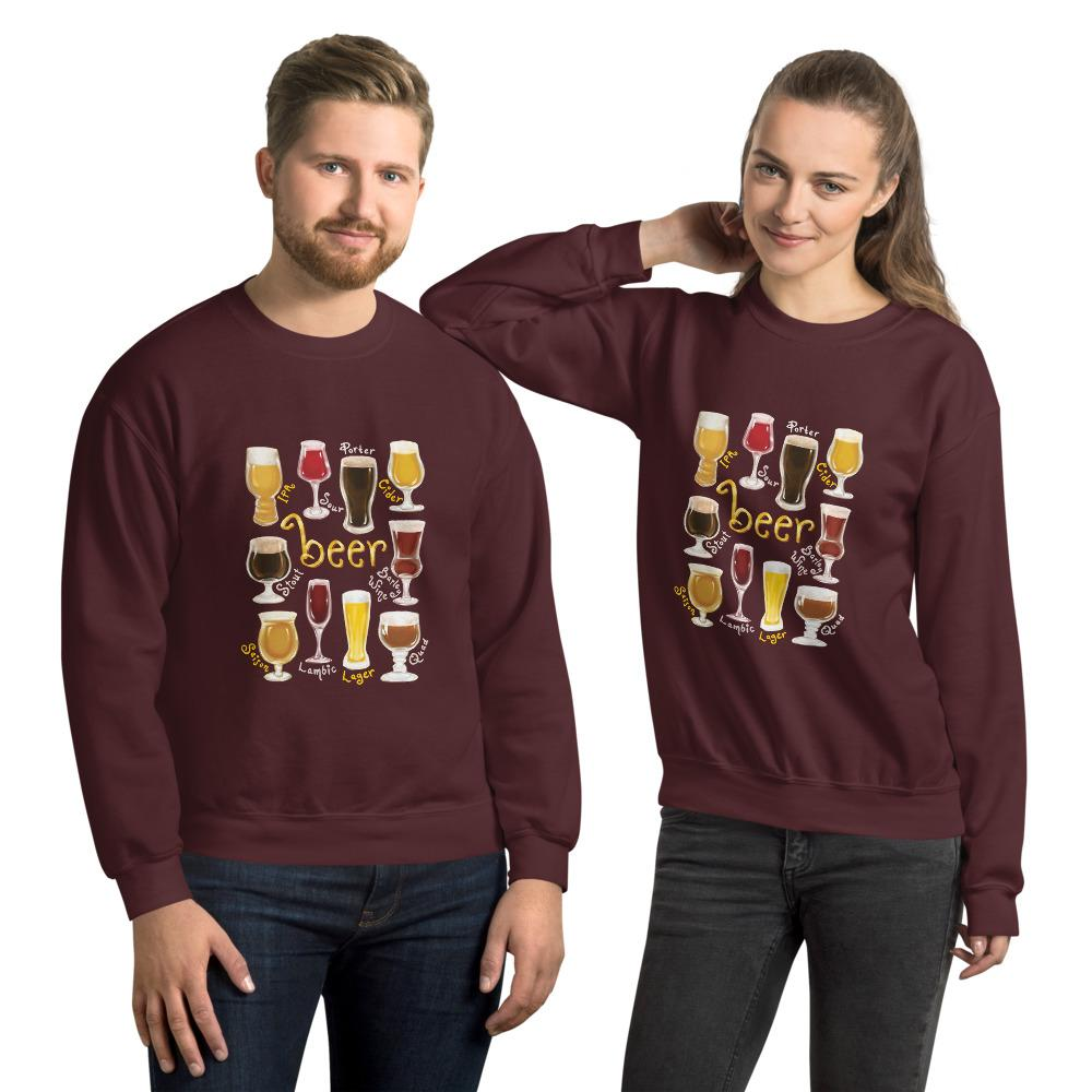 A man and woman wearing the Beer Lovers Unisex Sweatshirt in the colour maroon, featuring a graphic of 10 styles of beer in 10 different glasses