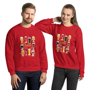 A man and woman wearing the Beer Lovers Unisex Sweatshirt in the colour red, featuring an image of 10 styles of beer in 10 different glasses