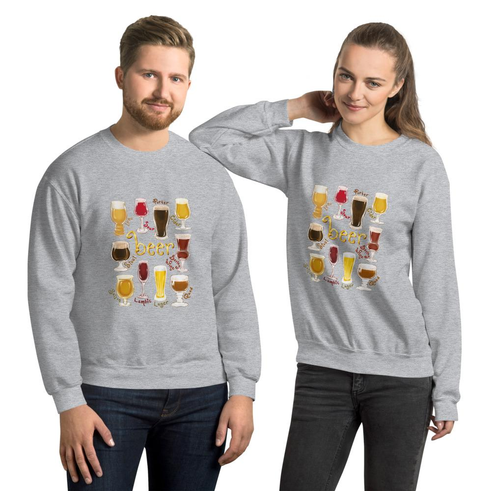 A man and woman wearing the Beer Lovers Unisex Sweatshirt in the colour sport grey, featuring an image of 10 styles of beer in 10 different glasses